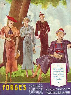 The elegantly illustrated cover of Forges Spring & Summer catalogue 1936-1937. #vintage #1930s #fashion
