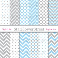 chevron digital paper polka dot banner paper holiday paper xmas paper christmas paper blue silver gray invitation paper grey scrapbook printable patterns StarFlowerStreetDA on Etsy: (3.75 USD)