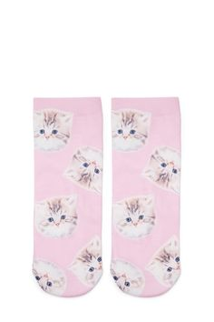 Kitten Print Ankle Socks