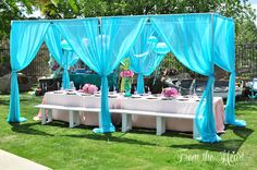Under the sea guest table from a Vintage Glamorous Little Mermaid Birthday Party on Kara's Party Ideas   KarasPartyIdeas.com (51)