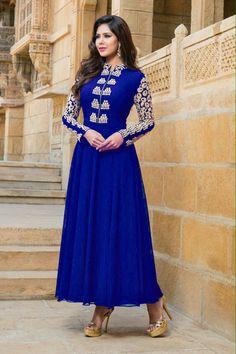 Blue Simple Anarkali Suit - Rs. 1269.00