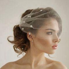 Silk Tulle Bandeau Birdcage Wedding Veil With Flowers Headband Veil Short Bridal Veils White/Ivory Tulle Birdcage Veils