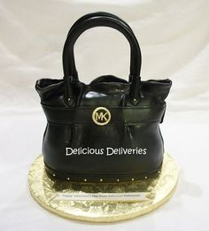Michael Kors Black Leather Purse Cake - by DeliciousDeliveries @ CakesDecor.com - cake decorating website