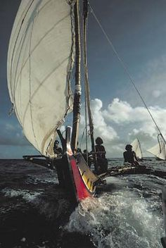 Hand hewn outrigger canoe, sailed by islanders of the Federated States of Micronesia