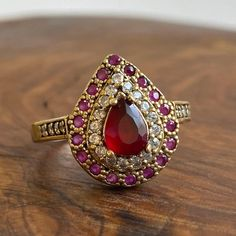 Synthetic Ruby, Turkish Jewelry, Solitaire Ring, Pear, Heart Ring, Bronze, Sterling Silver, Turkey, Rings