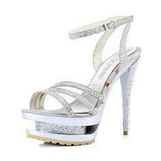 Silk Diamond Waterproof Sandals Silver
