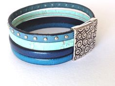 Handmade Leather Cuff Bracelet  Wide Leather Cuff   Cork Cord Everyday Wear Leather Wristband Women Leather Bracelet  Mens Leather Cuff Blue