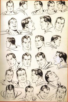 Great model sheet of various Superman expressions by Curt Swan.