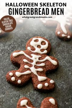 Paleo and Gluten Free Skeleton Gingerbread Men!!💀These are SO FUN to make. They are just classic chocolate cut-out sugar cookies but you can put a spooky twist on them using icing. It's such a fun family activity. Plus, they don't have to be perfect! I messed up on a ton of them but they still looked great at the end. Chocolate Sugar Cookies, Paleo Chocolate, Gingerbread Man, Gingerbread Cookies, I Messed Up, Halloween Skeletons, Dairy Free Recipes, Free Food, Icing
