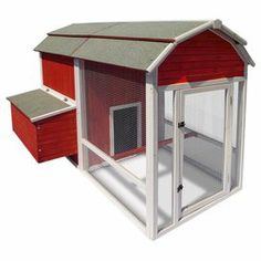 """Weather-resistant wood chicken coop with multiple nesting boxes.   Product: Chicken coopConstruction Material: WoodColor: RedFeatures: Multiple nesting boxesWeather-resistant Dimensions: 51.5"""" H x 52.7"""" W x 77.9"""" D"""