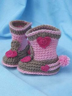 Rock-a-Billy Baby Boots #crochet
