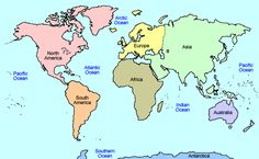 World Map Continents and Oceans, Coloring Page 7 Continents . Geography Activities, Geography For Kids, Maps For Kids, Teaching Geography, Preschool Activities, World Map Continents, Continents And Oceans, 4th Grade Social Studies, Teaching Social Studies