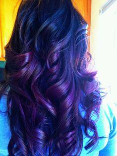 Dark brown haircolor w/purple ombre...