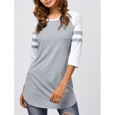 Striped Sleeve Long T-Shirt, GREY/WHITE, XL in Tees & T-Shirts | DressLily.com