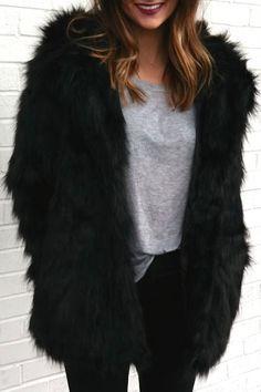 Fashionable Hooded Faux Fur Bear Coat For Women
