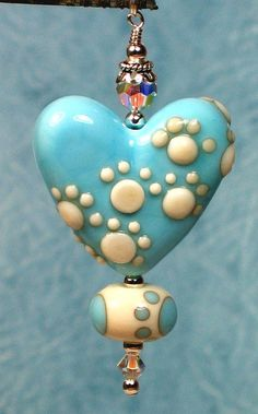 Items similar to Made to order Margo lampwork beads footprint turquoise heart on Etsy Clay Beads, Polymer Clay Jewelry, Lampwork Beads, Handmade Jewelry Designs, Handmade Beads, Bijoux Diy, How To Make Beads, Bead Art, Heart Shapes
