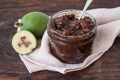 Feijoa Chutney kgs Feijoas, peeled and chopped 500 g Apples, peeled and chopped 500 g Onions, finely sliced 1 Ltr Malt vinegar 500 g Brown sugar 1 Tbsp Salt 1 Tbsp Ground ginger 1 Tbsp Crushed garlic 1 Lemon, grated rind only ½ tsp Mace Fejoa Recipes, Guava Recipes, Chutney Recipes, Snack Recipes, Cooking Recipes, Online Recipes, Cooking Fish, Recipies, Snacks