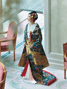 Wedding Kimono, Japanese Characters, Hanfu, Formal Wear, Sari, Textiles, Hairstyle, Costumes, Traditional