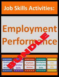 Employment performance bundle teaches students critical job skills using real-life employment situations, examples, and dos and donts. SAVE 23% compared to purchasing the 5 products separately. Includes 32 no-prep pdf pages of student worksheets.