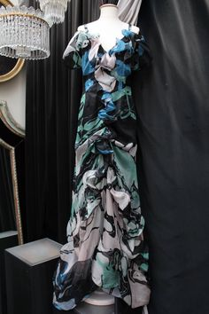 Christian Lacroix long flounced organza evening dress with abstract pattern prin For Sale