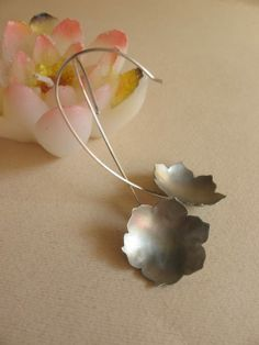 silver Lotus earrings, silver and alpacca,handmade by PadmaJewels