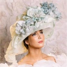 large aqua green ruffle wide brim hat