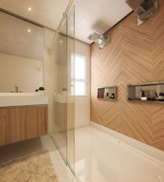 Banheiro com ralo oculto da Linear Reception Furniture, Office Reception, Concept Board, Corner Bathtub, Household, Sweet Home, Home Decor, Bathrooms, Decoration