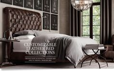 Chesterfield Leather Sleigh Bed Without Footboard Container Home Brown Leather Bed, Leather Sleigh Bed, Home Bedroom, Master Bedroom, Bedroom Decor, Bedrooms, Bedroom Inspo, Bed Without Footboard, Restoration Hardware Bedroom