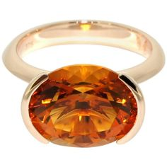 Lizunova Madeira Citrine Rose Gold Ring | From a unique collection of vintage cocktail rings at https://www.1stdibs.com/jewelry/rings/cocktail-rings/