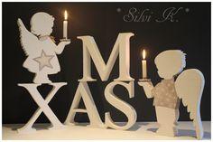 erhältlich hier: http://de.dawanda.com/shop/anavlis X-MAS, Handarbeit, Dekoration, Holz, Weihnachten, Engel, Leuchter, Silvi K.