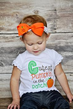 Cutest Pumpkin in the Patch Shirt, Cutest Pumpkin Appliqued Shirt, Fall Appliqued Shirt, Girls Pumpkin Shirt via Etsy