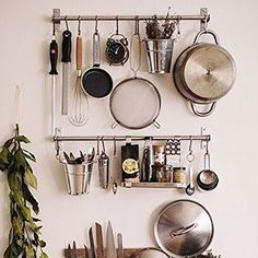 Amazon.com: Stainless Steel Gourmet Kitchen Wall Rail and 10 Large S Hooks Set Utensil Pot Pan Lid Rack Storage Organizer: Kitchen & Dining