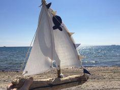 Sailboat driftwood boat driftwood sailboat by hippiefishbeachart