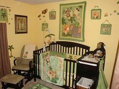 Jungle Babies Nursery: I have always loved animals and wanted to use them in our baby's room. When I saw the Nojo Jungle Babies crib bedding it was a done deal!  The room is