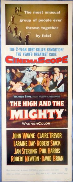 THE HIGH AND THE MIGHTY MOVIE POSTER 1954 John Wayne Robert Stack Jan Sterling