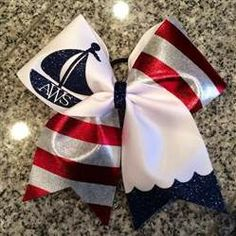 Nautical Monogram Red White and Navy Blue Sailboat Cheer Bow