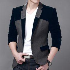 Hot Sale Men's Velvet Blazer Slim Fit Corduroy Casual Suit Jacket Winter Patchwork Fashion Blazers Men Plus Size M-6XL FS-034 US $44.38