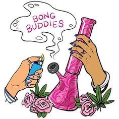'Bong Buddies // 420 Smoke Stoner Girl ' Sticker by hocapontas Arte Dope, Dope Art, Trippy Drawings, Art Drawings, Marijuana Art, Cannabis Oil, Medical Marijuana, Stoner Art, Psychedelic Art