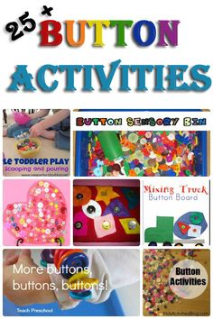 25 + Button Activities: Scoop and Pour, Activities, Sorting, Building, Jewellery, Counting and Crafts. - 3Dinosaurs.com