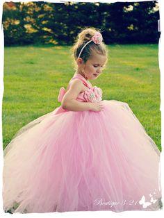 Rosa Vestido de la muchacha de flor vestido rosado por Boutique321