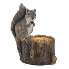 Adorable Squirrel Perched on Tree Trunk Bird Feeder Spring Porch Yard Decor NEW Unique Bird Feeders, How To Attract Birds, Bird Watching, Flocking, Bird Houses, Lion Sculpture, Wildlife, Shapes, Deck