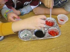 Experiment with mixing colours. Using droppers with different colours dye – dropping into water or on paper. Straws can work too.