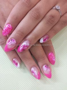 Gel 50 with pink and white one stroke flower nail art