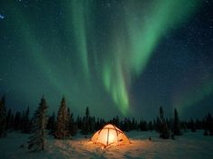 Northern Lights or Aurora Borealis over Illuminated Tent, Boreal Forest, North America Photographic Print by Matthias Breiter/Minden Pictures at AllPosters.com
