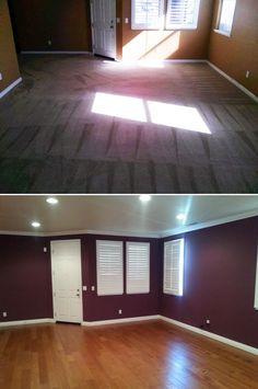 Before & After: Dining room makeover with Cinnamon Maple! http://remodel.lumberliquidators.com/detail/1-2-x-5-cinnamon-maple-handscraped-hardwood-engineered-flooring-perris-ca