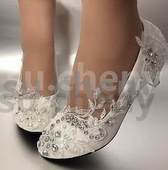 41b94a477b62 Lace white ivory crystal Wedding shoes Bridal flats low high heel pump size  5-12
