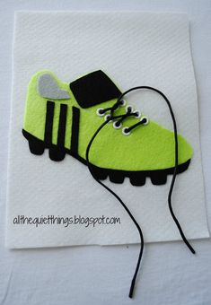 All The Quiet Things: Boys Quiet book page shoelaces / cute green shoes with laces