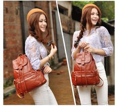 Brown Feshional Preppy Style Geniune Leather Travel Backpacks for Ladies?Fast Shipping