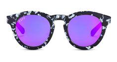 DIFF Dime II Black White Frame Purple Mirror Lenses | DIFF Eyewear