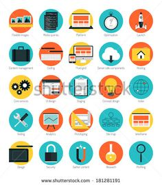 Flat design icons set modern style vector illustration concept of responsive design web interface, website analytics, search engine optimization, html coding webpage wireframe and prototyping elements